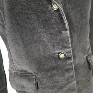 Vintage Jackets & Coats - Vtg 90s Black Velvet Red Lined Blazer Jacket